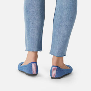 Rothy's Shoes 20% Teacher Discount - Indigo mini stripe shoe